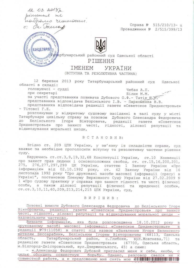 Суд уличил депутата Одесского облсовета во ЛЖИ (Документ)