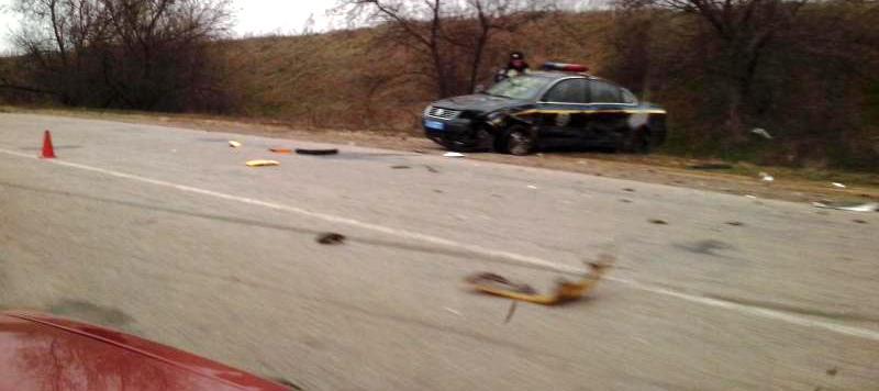 На трассе Одесса-Рени машина ГАИ протаранила Шевроле (обновлено, фото)