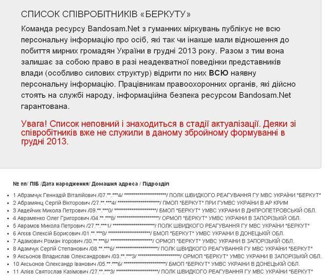 """Опубликовали 1,5 тысячи имен сотрудников """"Беркута"""", которые били людей. ФОТО"""