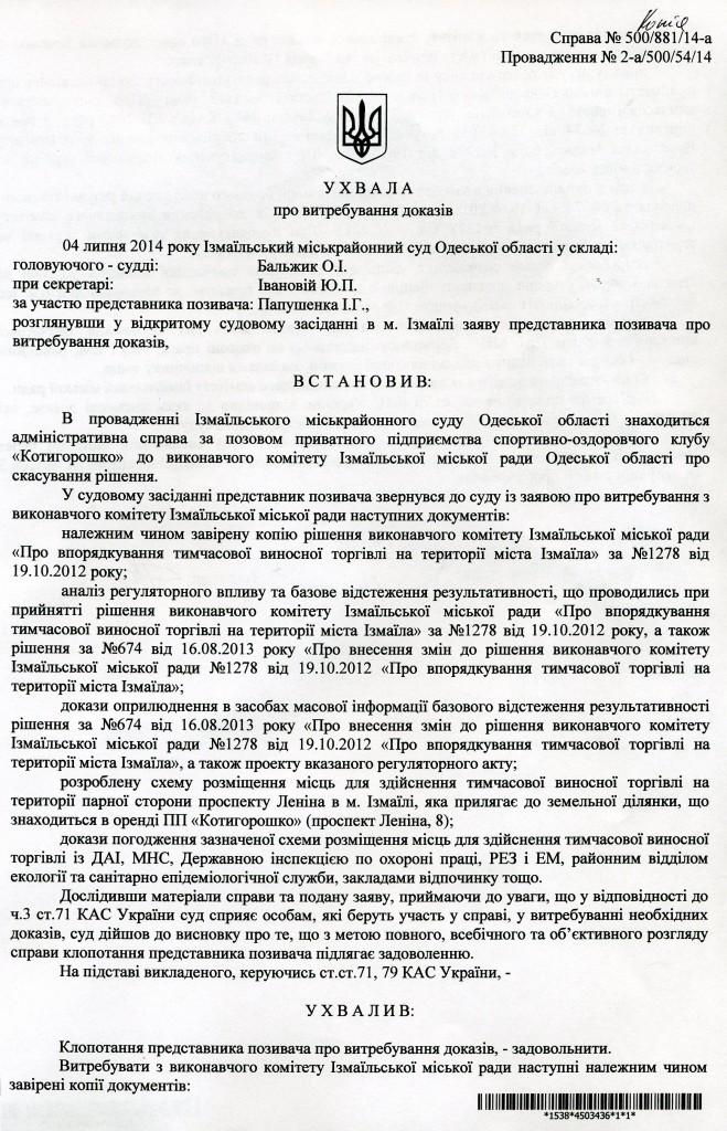Суд по временной торговле возле рынка «Росинка»