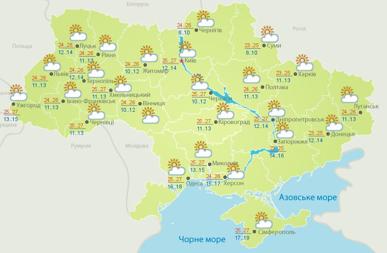 Украинцев ждет солнечная суббота
