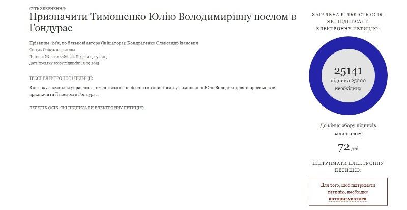 Петиция об отправке Тимошенко в Гондурас набрала уже более 25 тысяч подписей