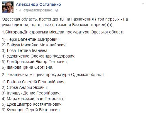 Стали известны имена претендентов на посты руководителей местных прокуратур Бессарабии