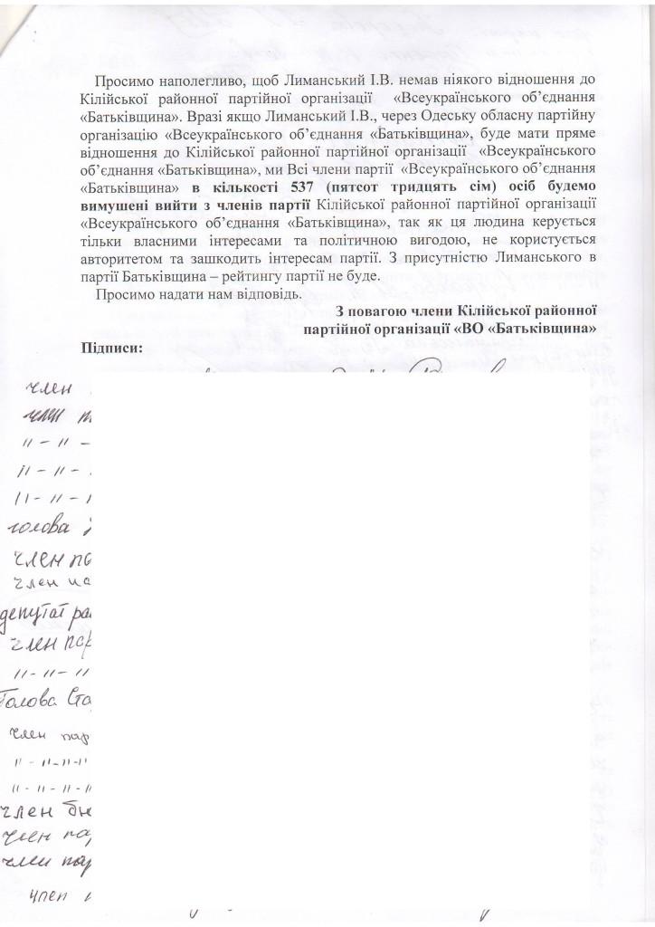 """В Килии члены местной ВО """"Батькивщина"""" взбунтовались против депутата-провокатора Лиманского"""