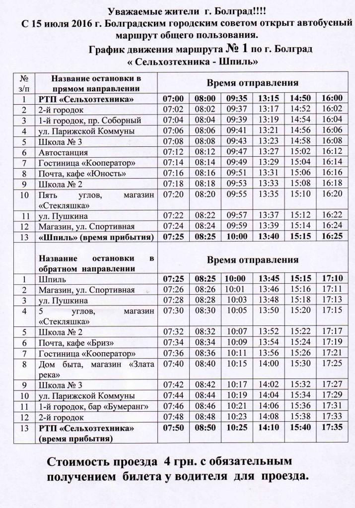 В Болграде возрождают городские маршрутки (график движения)