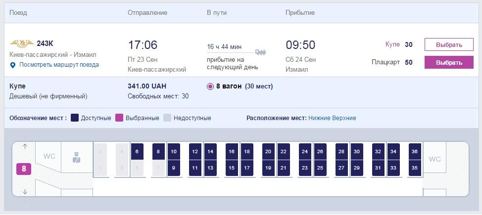 """Стала известна стоимость билетов на поезд """"Киев-Измаил"""""""