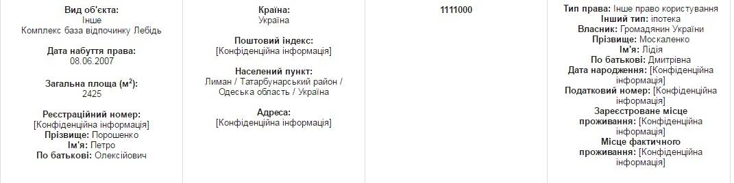 Порошенко задекларировал базу отдыха в Татарбунарском районе