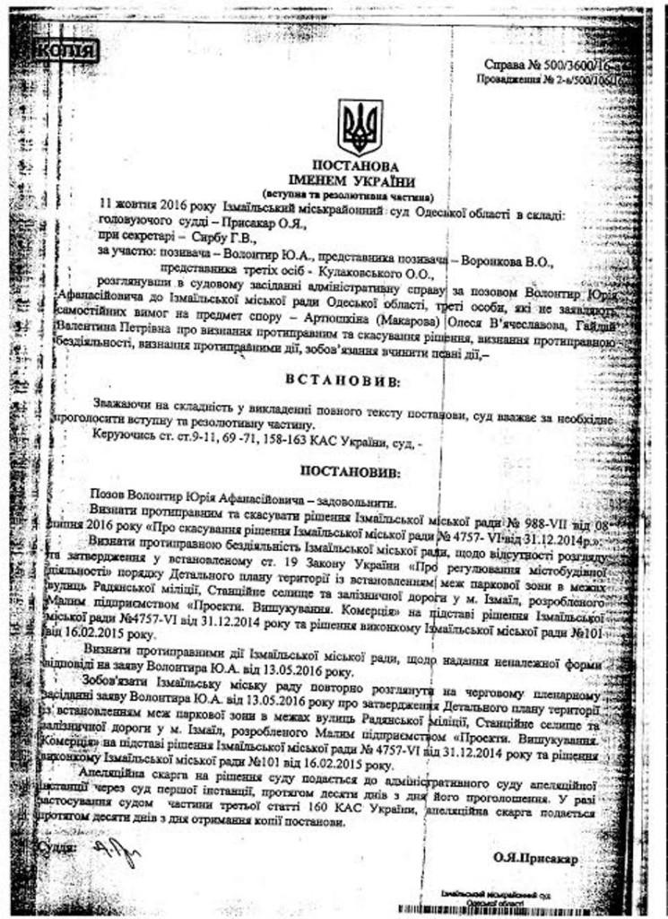 Измаильчане выиграли суд против горсовета (документ)