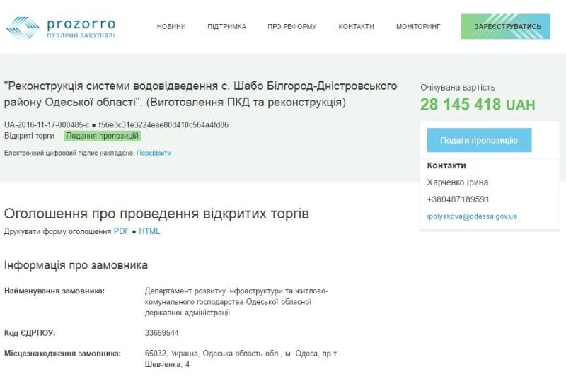 Одесская ОГА заплатит 28 млн гривен за реконструкцию канализации в Шабо