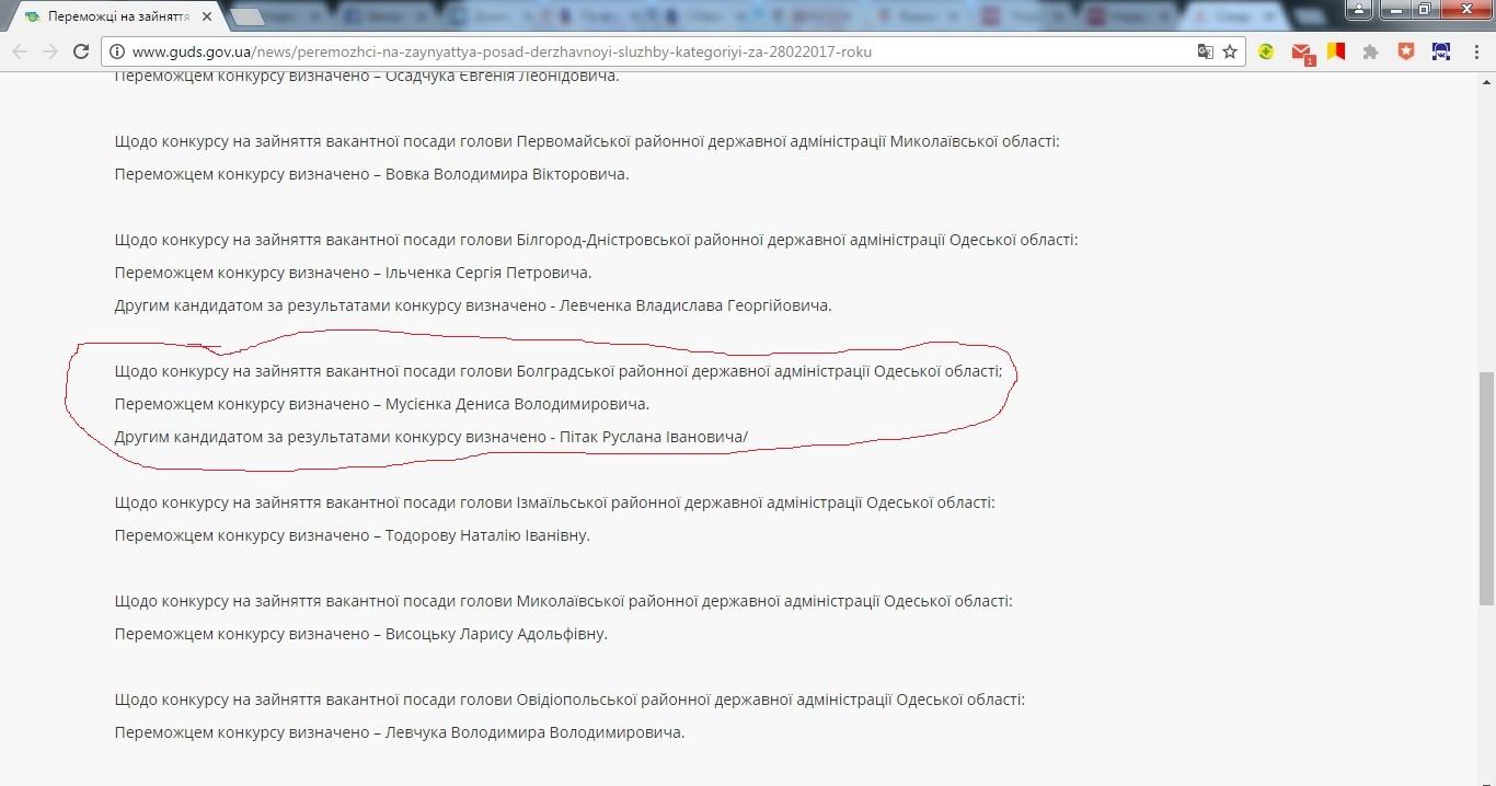3464 Нацгосслужбы исправило ошибку по конкурсу на главу Болградской РГА
