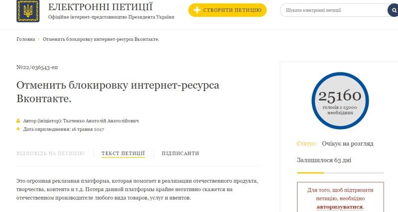 Вернуть ВКонтакте: петиция к Порошенко набрала более 25 тыс подписей