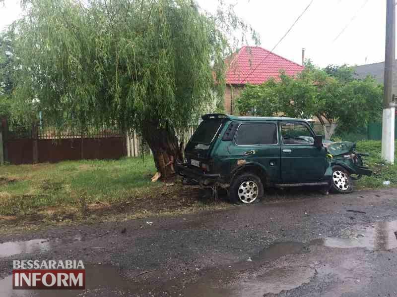 """В Килии """"Ниву"""" занесло на мокрой дороге: машина врезалась в дерево и изрядно пострадала"""