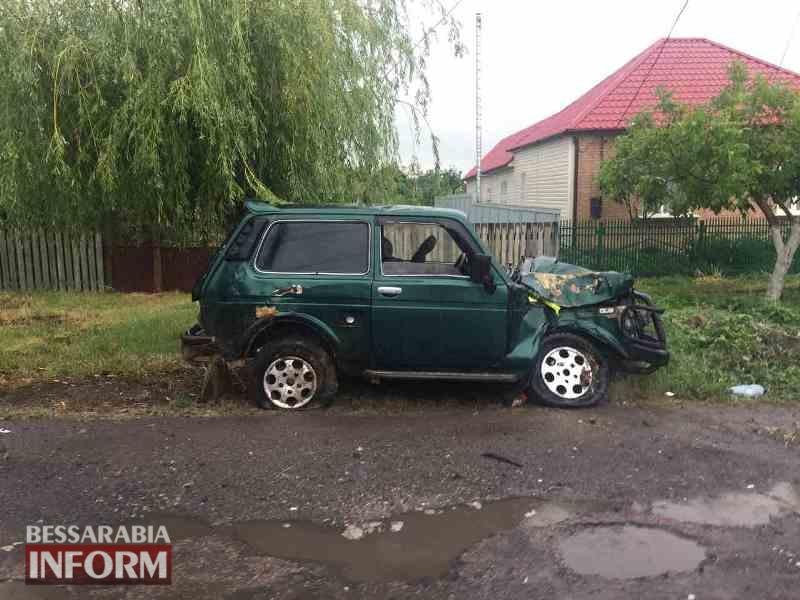 """593a897045507_5487 В Килии """"Ниву"""" занесло на мокрой дороге: машина врезалась в дерево и изрядно пострадала"""
