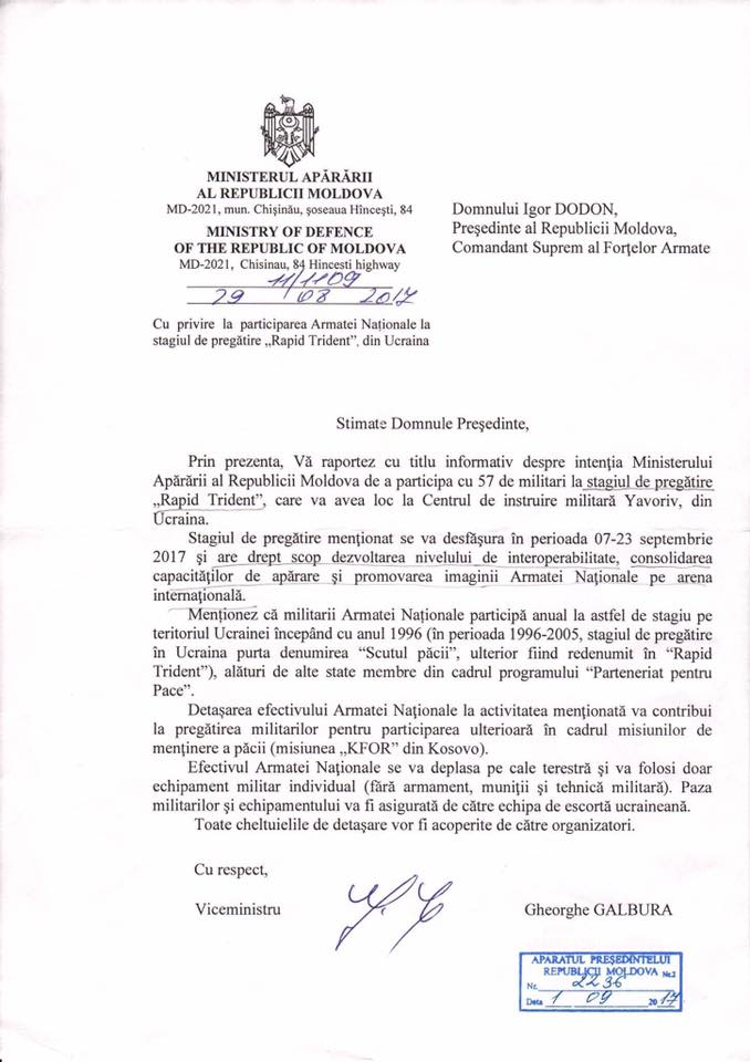 Пророссийский президент Молдовы запретил молдавским военным участвовать в учениях в Украине