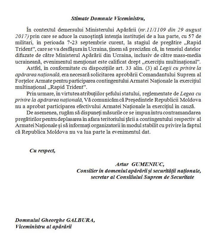 240 Пророссийский президент Молдовы запретил молдавским военным участвовать в учениях в Украине