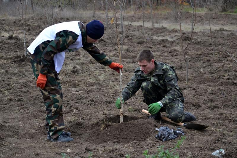 22-1 В Измаиле сотрудники лесничества и учащиеся Лесной школы в заповедной зоне заложили новый парк