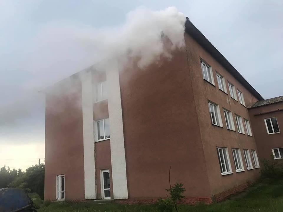 На территории Килийской ОТГ из-за удара молнии загорелась школа