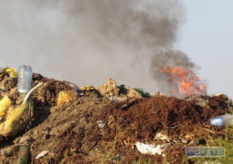 В Болграде несколько дней горит городская свалка