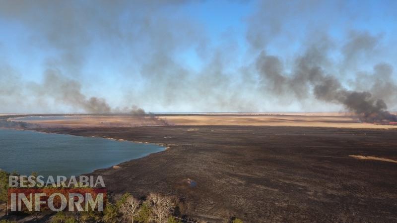 Пожар в Вилковском лесничестве с высоты птичьего полета и в непосредственной близости к огню