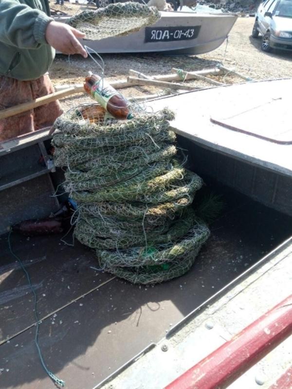 На озере Китай установили первые искусственные гнезда для нереста судака