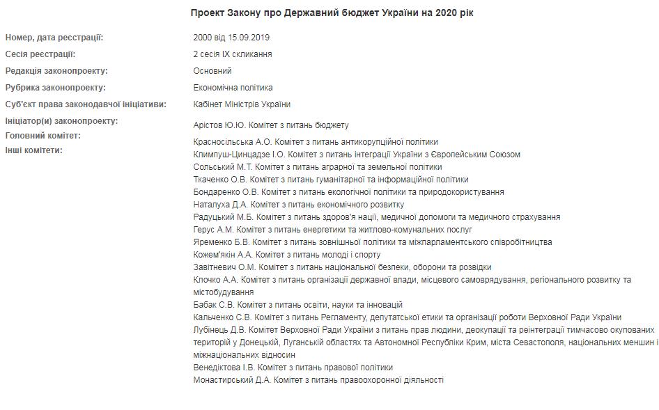 В Раде зарегистрирован госбюджет на 2020 год