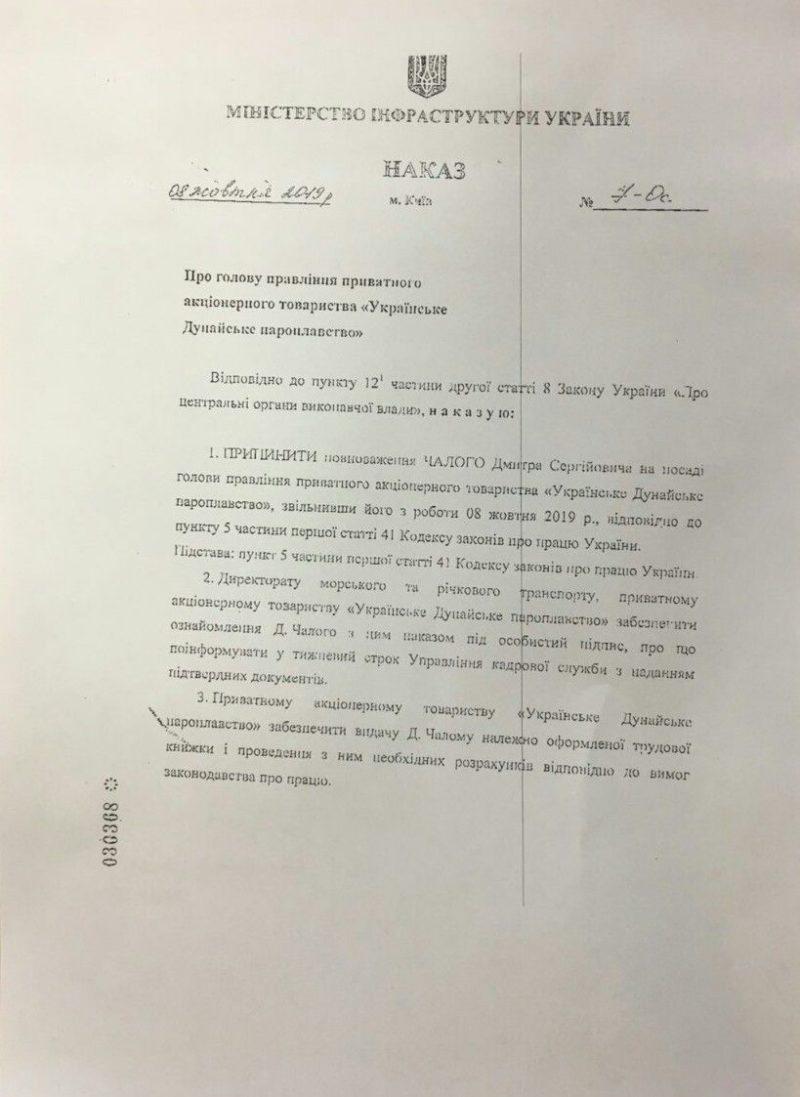 """Руководитель ЧАО """"УДП"""" Дмитрий Чалый уволен с занимаемой должности"""