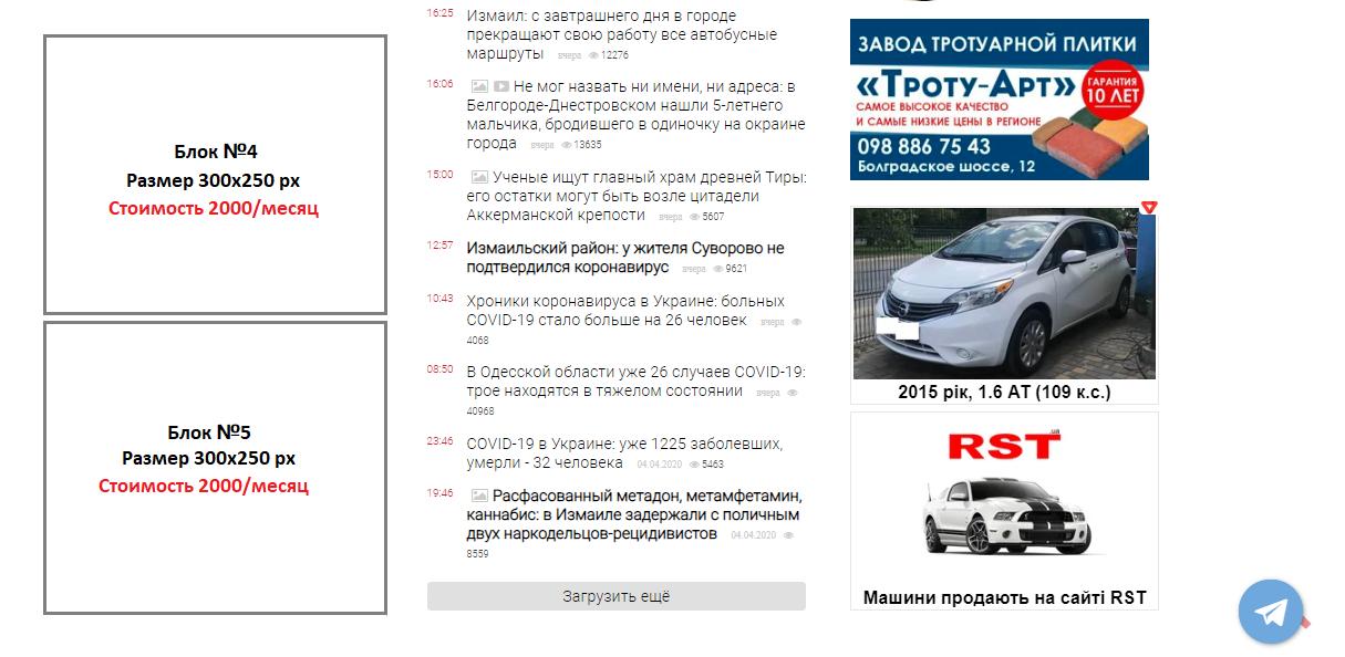 Реклама на сайте Бессарабия INFORM