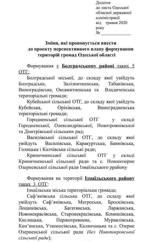 В Одесской ОГА окончательно решили, какие ОТГ будут сформированы в Измаильском и Болградском районах