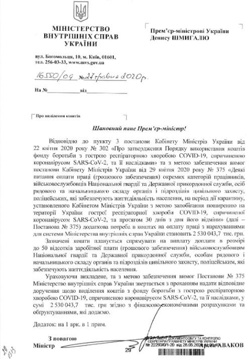 """МВД просило выделить из """"антикоронавирусного фонда"""" около 2,6 млрд гривен на выплаты полицейским, пограничникам и нацгвардейцам"""
