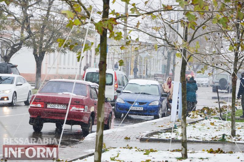 Танец зимы и осени: в Килии первый снег укрыл опавшие желтые листья (фоторепортаж)