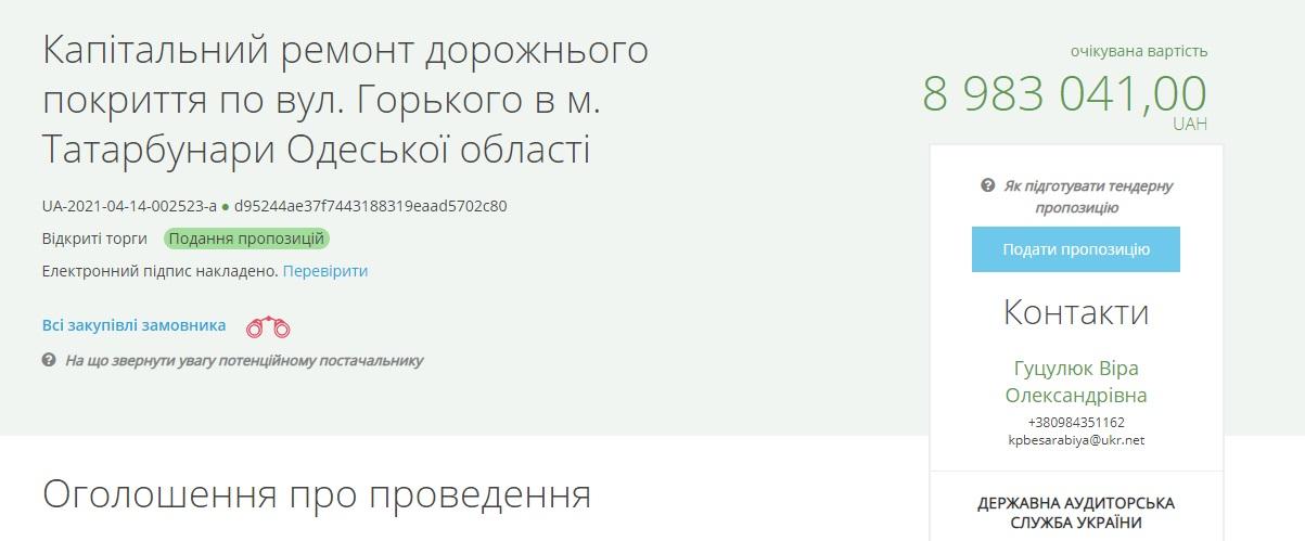 На обновление дорожного покрытия одной из центральных улиц Татарбунар потратят до 9 млн грн