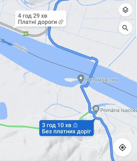 """Самый короткий южный путь: паромная переправа """"Орловка - Исакча"""" появилась на картах Google"""