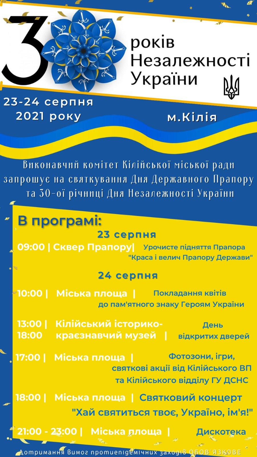 Стало известно, как Килия отпразднует юбилей Независимости Украины